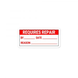 """Requires Repair"" – Bubble-free stickers"
